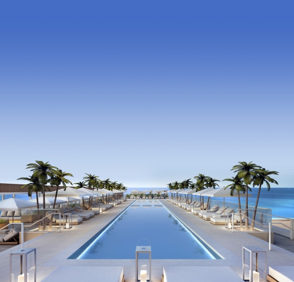 1 Hotel South Beach Roof Top Pool Sunset Vertical